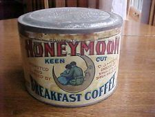 Early 1 lb HONEYMOON Coffee Tin Can Moore Grocer Sioux City Falls spice go with