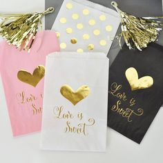 Pink Candy Buffet Bags Gold Pink Candy Bags Wedding von ModParty