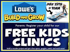 Registration is now open for a FREE Lowe's Avenger's Hawkeye's Quinjet Kid's CliniconSaturday, July 25th at 10AM. Since spots fill up fast, you should make sure to register as soon as possible.