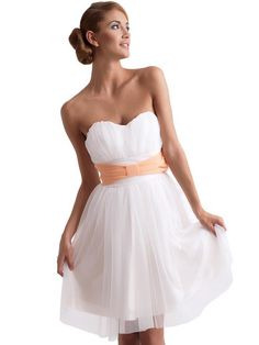 Sweet Heart Layered Chiffon White Dress with Bow Belt