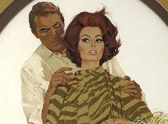 """Gregory Peck and Sophia Loren by Robert McGinnis.  Illustration for """"Arabesque"""", 1966 dir. Stanley Donen oldcarguy41 