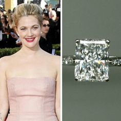 Drew Barrymore's beau of one year, Will Kopelman, proposed over the holidays in Sun Valley, Idaho with a four-carat radiant cut engagement ring by Graff. Radient Engagement Rings, Radiant Cut Engagement Rings, Engagement Ring Photos, Halo Diamond Engagement Ring, Engagement Ring Settings, Wedding Engagement, Celebrity Wedding Rings, Wedding Rings For Women, Celebrity Weddings