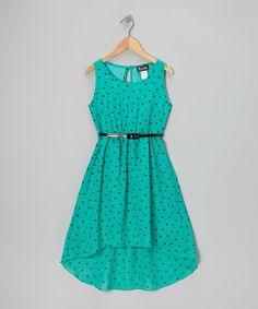 Btween Mint Heart Hi-Low Dress - Girls | zulily