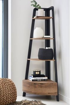 A modern touch to your space - make this Bronx corner ladder shelf a piece of effortless sophistication. shelves living room Buy Bronx Corner Ladder Shelf from the Next UK online shop Corner Ladder Shelf, Corner Shelves Living Room, Ladder Shelf Decor, Living Room Corners, Living Room Corner Furniture, Corner Shelving Unit, Ladder Shelves, Shelf Furniture, Shelving Units
