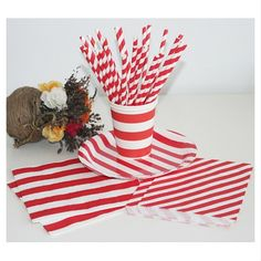 Wholesale Red and White Striped Straws