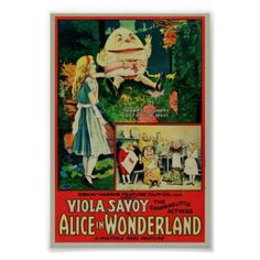 1915 poster for Alice in Wonderland featuring Viola Savoy, made by Gus Hill's Nonpareil Feature Film Company #alice #alice #in #wonderland #rare #poster #poster #movie poster