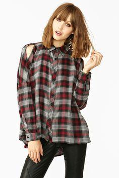 Shoulder cut outs on plaid shirt