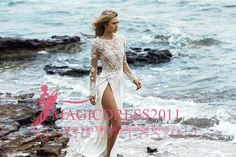 Elegant Lace Wedding Dresses Chiffon BOHO Beach Bridal Gowns 2016 A-Line Jewel Long Sleeve Split Vintage Garden Country Chapel Custom Made Online with $122.52/Piece on Magicdress2011's Store | DHgate.com