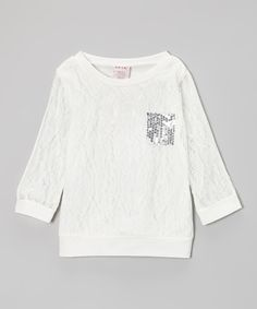 Take a look at this White & Silver Sequin Pocket Lace Top - Girls on zulily today!
