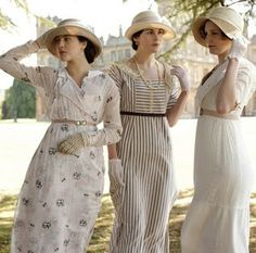 costumes from Downton Abbey - this style of dresses were very popular in he 1910s. The hemlines rose to expose the ankle and the waistline was slightly above the natural waist. The fit of bodices was easy and waistlines were often defined by belts.