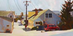 "Lisa Snow Lady, Alleyway, acrylic painting on panel. 24""x48""."