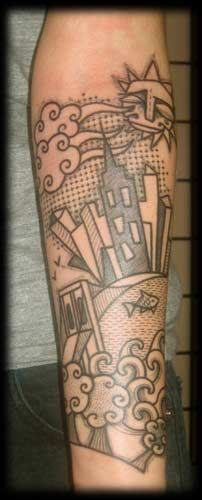 bridge skyline tattoo by Noon of Brooklyn, NY