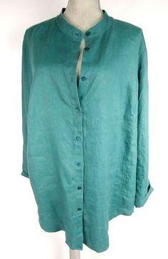a4fc385963b Eileen Fisher Plus Size 2X Organic Linen Tunic Shirt Mandarin Collar Green   EileenFisher  BlouseTunic