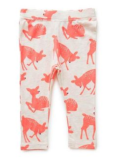 Cotton/Elastane blend legging. Full length legging with elasticated, self-covered waistband. Features all-over fluorescent deer print.