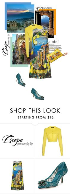 """Maria Teresa a Taormina"" by theitalianglam ❤ liked on Polyvore featuring Dolce&Gabbana, dolcegabbana, cutecardigan and springlayers"