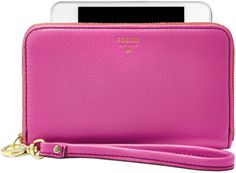 Fossil Sydney Leather Zip Phone Wristlet in Pink (BRIGHT PINK) - Lyst  $41