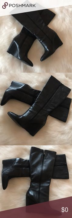 "STEVE MADDEN WEDGE BOOTS SIZE 8 1/2 Absolutely HOT Boots  Almost in like ""NEW"" Condition I only wore these for a few hours  4inch wedge height.  19"" from bottom of shoe to top of boot Steve Madden Shoes Over the Knee Boots"