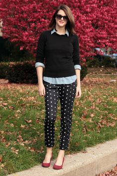 Jessica Quirk, What I Wore, Fashion Blog, Fashion Blogger, Personal Style Blog, Style Blogger, What I Wore Today, Outfit Ideas, Real World Style, Chambray, Black Sweater, Polka Dot Pants, How to wear Polka Dots, red Shoes, Bloomington Indiana,