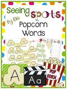 Popcorn Word Wall for your classroom!  Use this popcorn word wall pack to create a bright and colorful classroom word wall! There are several styles of headers and alphabet sets to choose from, along with both color and black and white popcorn word cards.