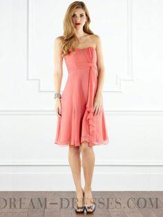 2015 Classy A-line Knee-length Strapless Chiffon Bridesmaid Dresses