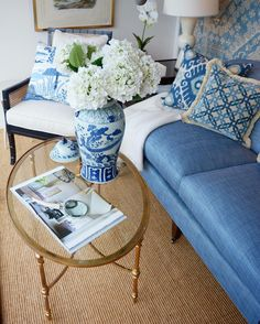 Decor tips: Make a small space appear larger my swapping your wooden coffee table for a glass one  Seen in our McLean shop.