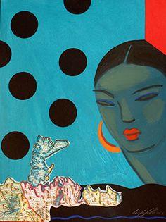 black dots,illustration Carmen García , acrylic and collage on paper , woman blue