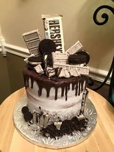 √ Cookies and Cream Cake Birthdays. 7 Cookies and Cream Cake Birthdays. Hershey S Cookies and Cream Cake Hershey's Cookies N Cream, Cake Cookies, Oreo Cookie Cake, Cookies And Cream Cheesecake, Cheesecake Desserts, Raspberry Cheesecake, Candy Cakes, Cupcake Cakes, Hershey Bar Cakes