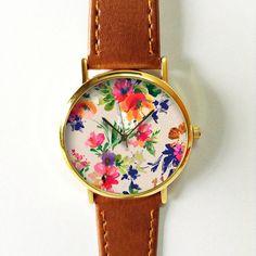 Floral Watch, Vintage Style Leather Watch, Women Watches, Unisex Watch, Boyfriend Watch, Pink Blue Freeforme 2015