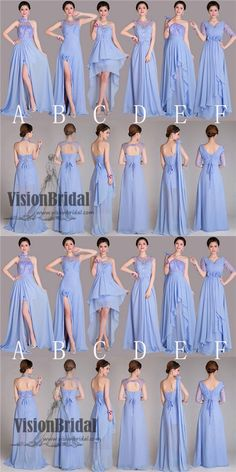 2018 Mismatched Styles Classic Formal Chiffon Floor-Length Pleating A-Line Long Bridesmaid Dresses, VB0339 #bridesmaid #bridesmaiddress #bridesmaiddresses