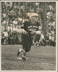 1931 Photograph depicting New York Yankees slugger Babe Ruth in action. VERY RARE photo that captures the Babe during the 1931 Universal Stars barnstorming tour, a brainchild of his agent Christy Walsh to promote his film career.