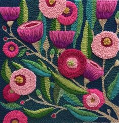 Weaving Yarn, Punch Needle Patterns, Crafty Fox, Bird Embroidery, Rug Hooking, Yarn Crafts, Crochet Flowers, Needlework, Lino Prints