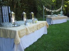 Coffee station and dessert station. Our burlap accents. Our poles holding up the client's garland.