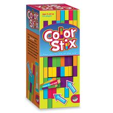 Color Stix is the hands-on game of speed and visual thinking. Each player gets a stack of colorful Stix, and then the race is on to see who can line up the most blocks of the same color before the timer runs out. Each rectangle in a color block is worth one point, so arrange and re-arrange your Stix to maximize your score. Includes 42 wooden Stix and a 90-second timer. For 2 to 6 players.