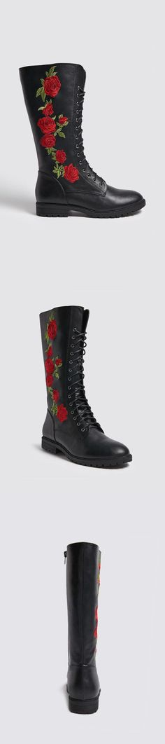 Embroidered Faux Leather Boots // 39.90 USD // Forever 21