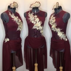 Gorgeous burgundy dance competition costume. Beautiful long flowing skirt touched in the front. Floral appliqués in cream adorn the bodice.  gLAM by Adora - Costumes