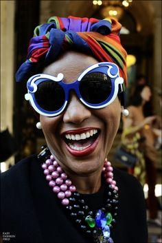 Prada sunglasses and turban