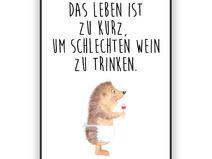 Poster DIN A4 Igel mit Wein - Papier 160 Gramm