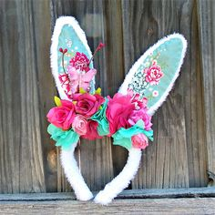 Bunny in the garden flower crowns, Easter headbands, Rabbit ears   Puddle Ducklings   madeit.com.au