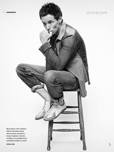 OH, MY: At last we see what's behind the Elle cover with Eddie Redmayne: Lots more denim, pouting, sneakers, and — cowboy boots!