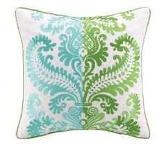 Aqua and Green Embroidered Pillow. Product in photo is from www.wellappointedhouse.com