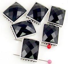 6 facetd lucite rectangle slider beads 11088 - Mobile Boutique