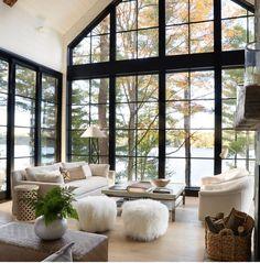 large windows // light and airy // living room // open concept // window wall große fenster // hell und luftig // wohnzimmer // offenes konzept // fensterwand House Design, House, House Inspo, Modern House, House Styles, House Inspiration, New Homes, Open Living Room Design, Home Interior Design