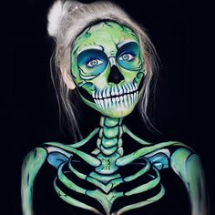 Colorful skull makeup.
