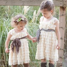 Babies to 4T - Ivory with Taupe Sash Flower Girl Dress by Everything Ruffles - Cap Sleeves, 2 INCH Ruffles. $59.00, via Etsy.