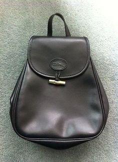 LONGCHAMP PARIS Small Black Leather Backpack Rucksack