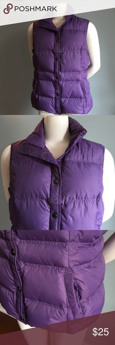 "Lands End Purple Puffy Vest In good condition, this vest has front slit pockets and is filed with 80% down/ 20% feathers. Length from shoulder to hem 24."" Bust measures 44."" Size 10/12. Lands' End Jackets & Coats Puffers"