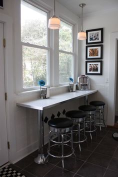 Eat at bar space.  Could do where mantel currently sets in dining room.  Ikea has counters/table/shelf supports like this