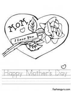 Free Printable Happy Mothers Day Coloring Page For Kids Print Out Card