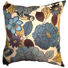 Better Homes and Gardens Patio Floral Birds Pillow, Blue