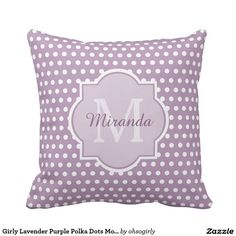 Girly Lavender Purple Polka Dots Monogram and Name
